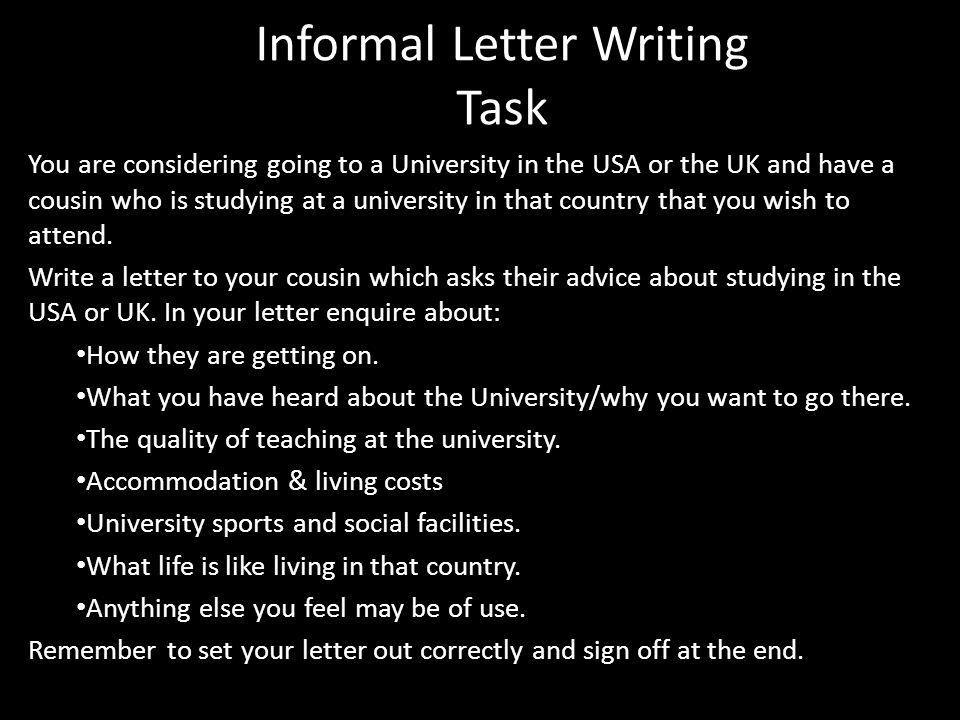 Informal Letter Writing Task