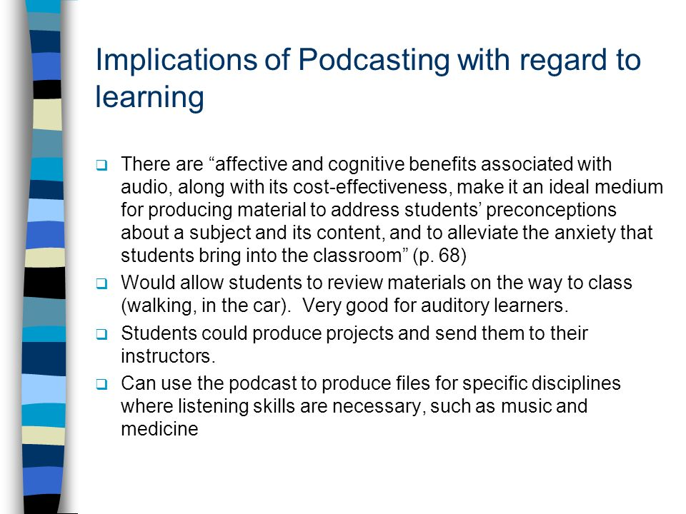 Implications of Podcasting with regard to learning