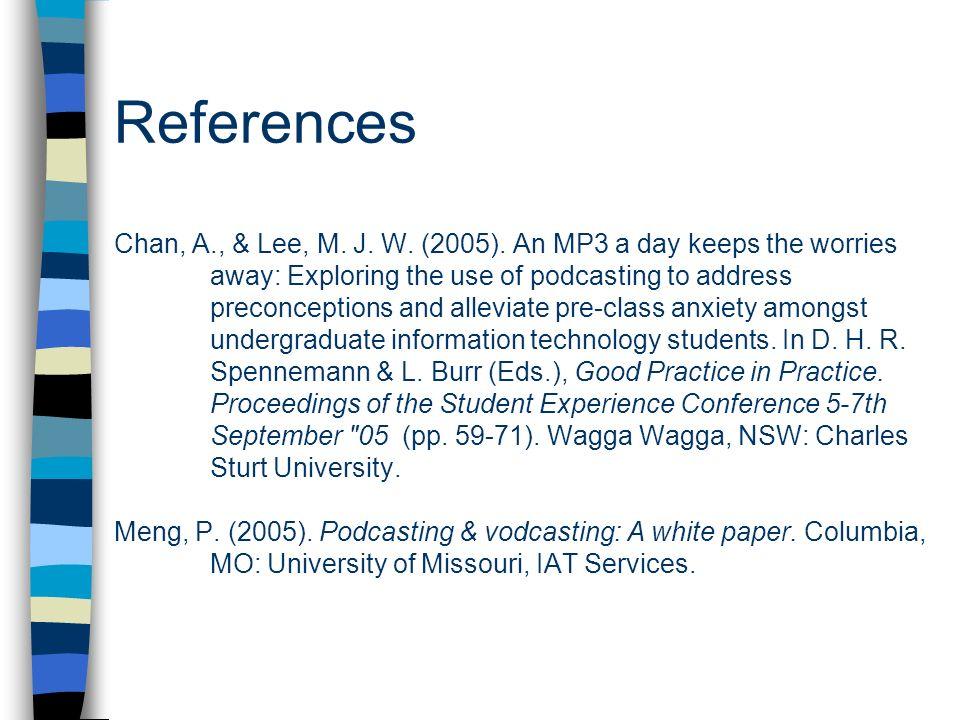 References Chan, A. , & Lee, M. J. W. (2005)