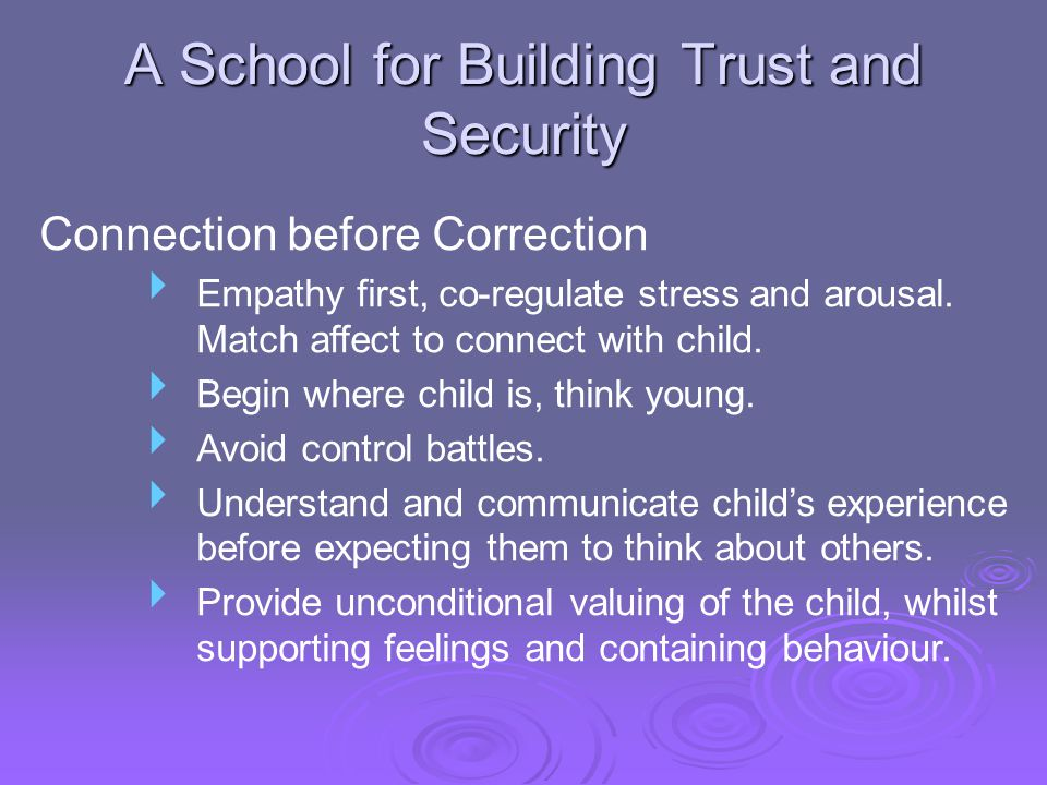 A School for Building Trust and Security