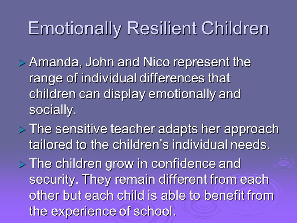 Emotionally Resilient Children