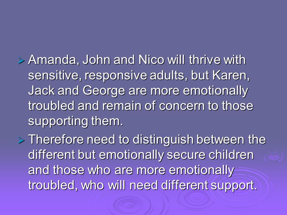 Amanda, John and Nico will thrive with sensitive, responsive adults, but Karen, Jack and George are more emotionally troubled and remain of concern to those supporting them.
