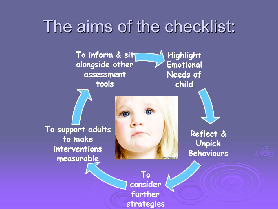 The aims of the checklist:
