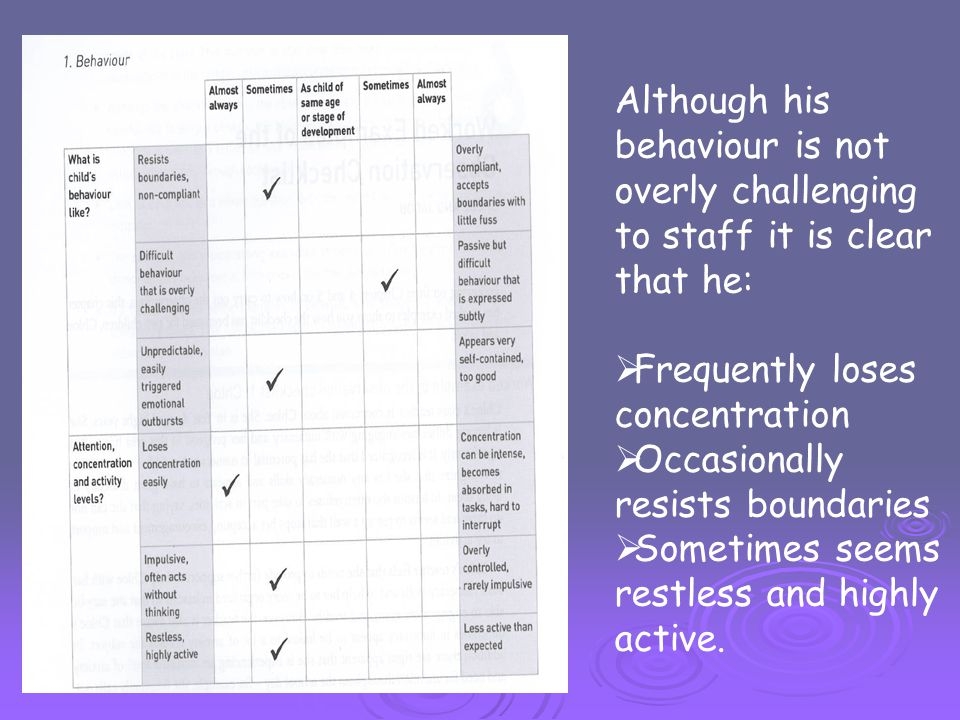 Although his behaviour is not overly challenging to staff it is clear that he: