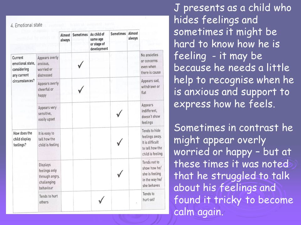 J presents as a child who hides feelings and sometimes it might be hard to know how he is feeling - it may be because he needs a little help to recognise when he is anxious and support to express how he feels.
