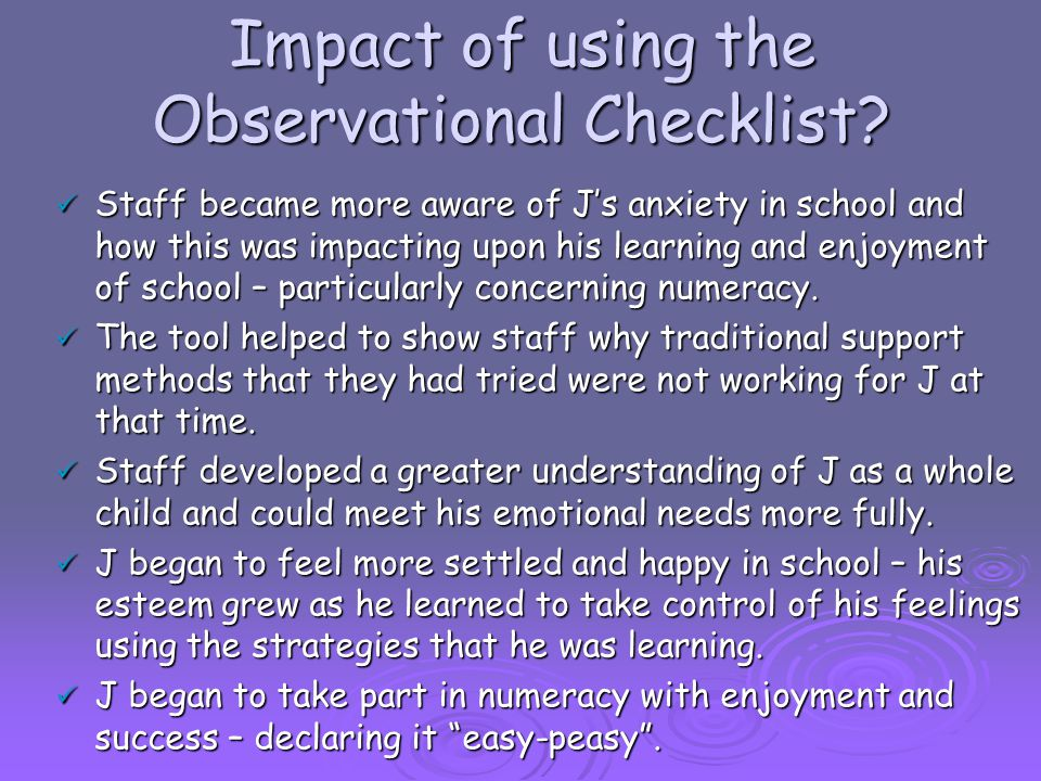 Impact of using the Observational Checklist