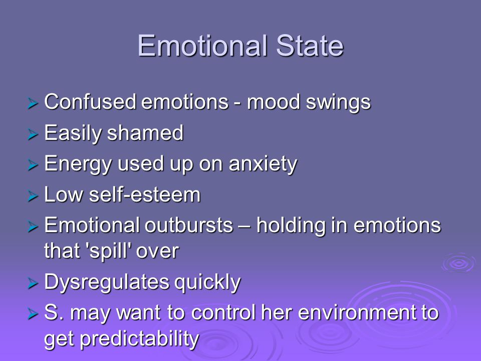 Emotional State Confused emotions - mood swings Easily shamed