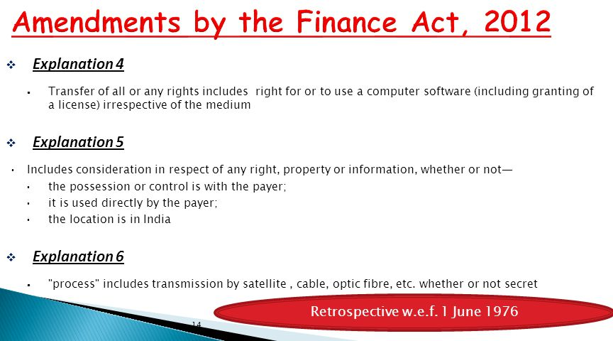 Amendments by the Finance Act, 2012
