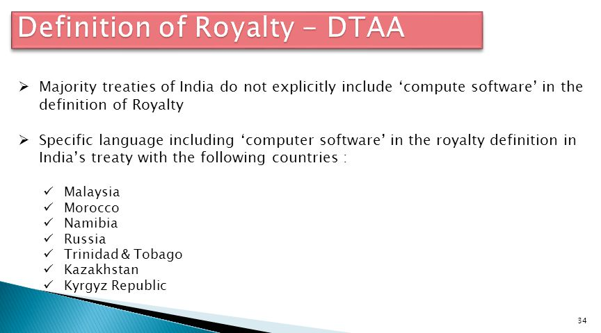 Definition of Royalty - DTAA
