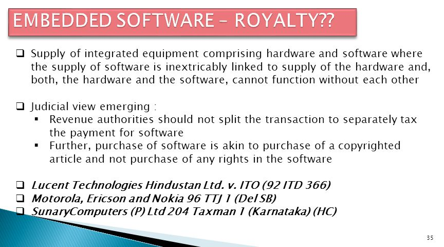 EMBEDDED SOFTWARE – ROYALTY