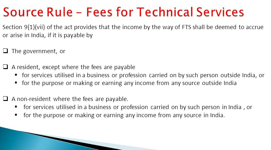 Source Rule – Fees for Technical Services