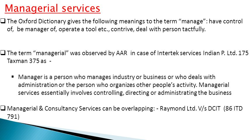 Managerial services