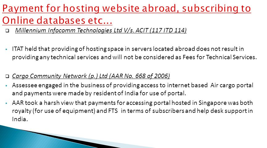 Payment for hosting website abroad, subscribing to Online databases etc...