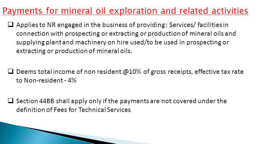Payments for mineral oil exploration and related activities