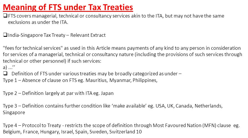 Meaning of FTS under Tax Treaties