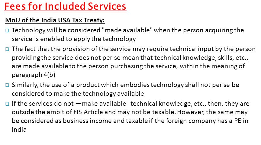 Fees for Included Services