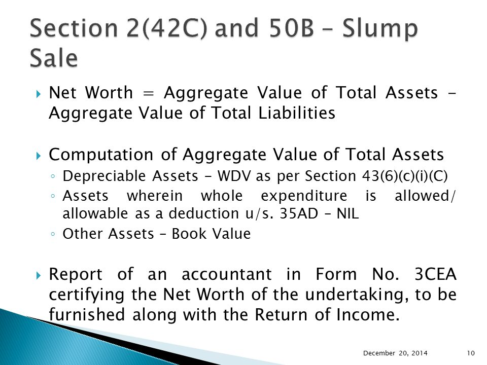 Section 2(42C) and 50B – Slump Sale