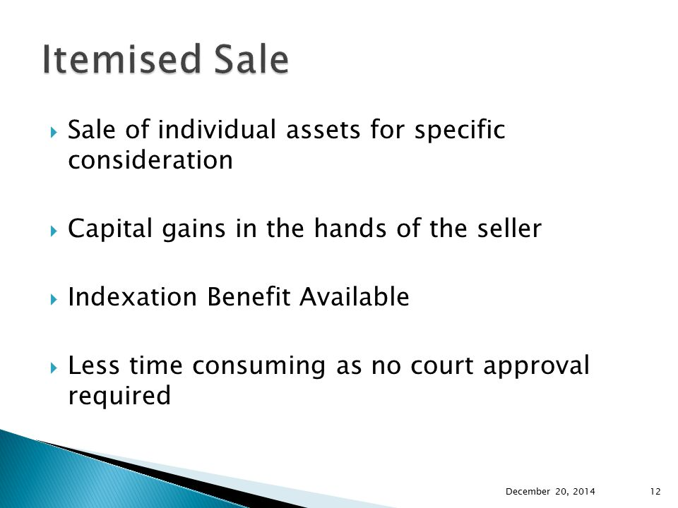 Itemised Sale Sale of individual assets for specific consideration