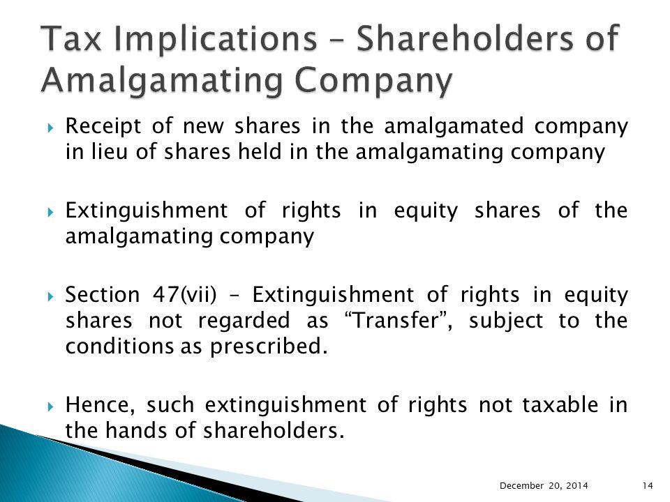 Tax Implications – Shareholders of Amalgamating Company