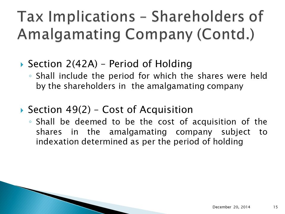 Tax Implications – Shareholders of Amalgamating Company (Contd.)