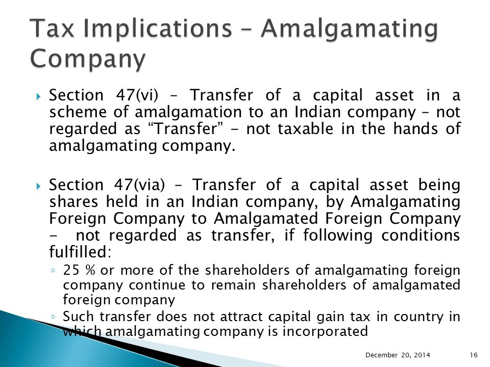 Tax Implications – Amalgamating Company