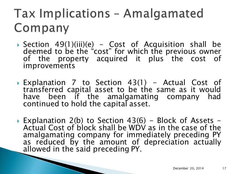 Tax Implications – Amalgamated Company