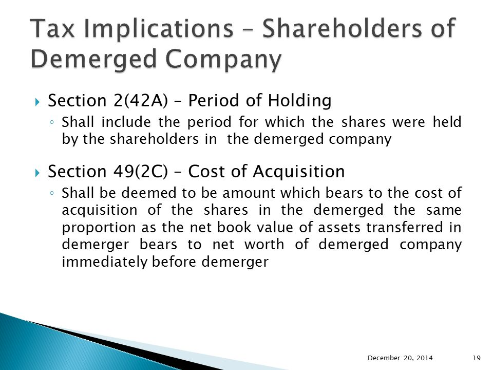 Tax Implications – Shareholders of Demerged Company