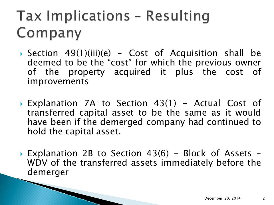 Tax Implications – Resulting Company