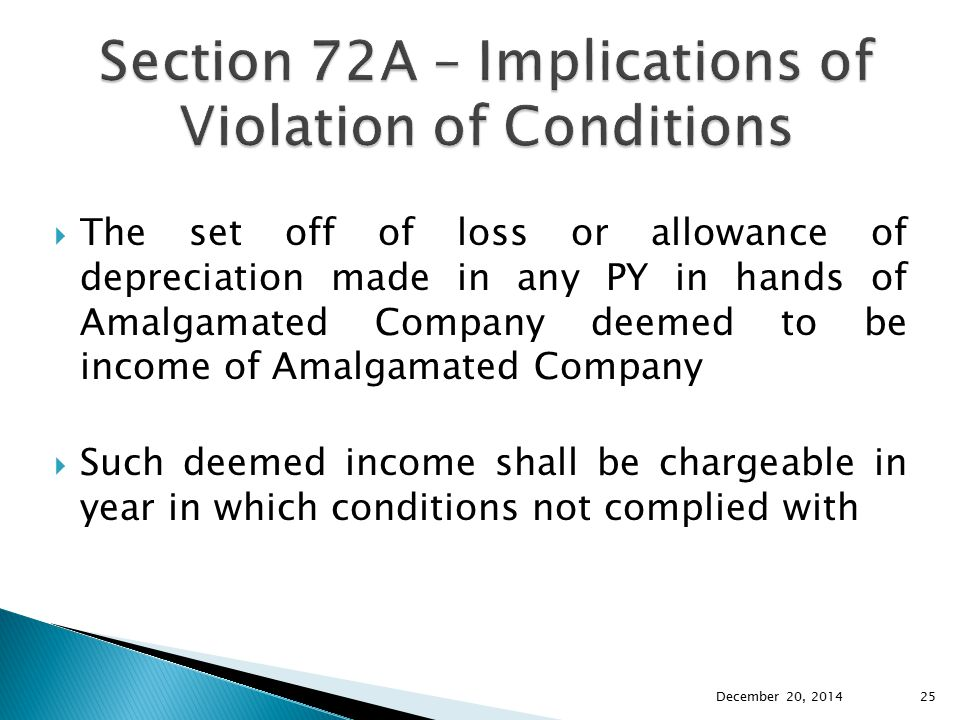 Section 72A – Implications of Violation of Conditions