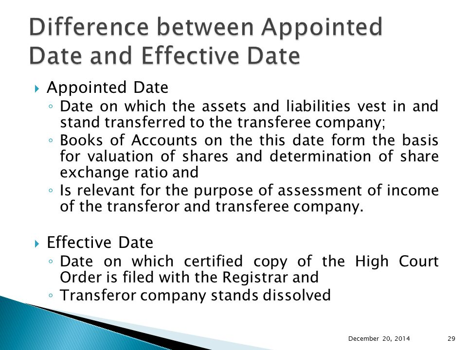 Difference between Appointed Date and Effective Date