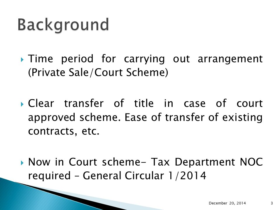 Background Time period for carrying out arrangement (Private Sale/Court Scheme)