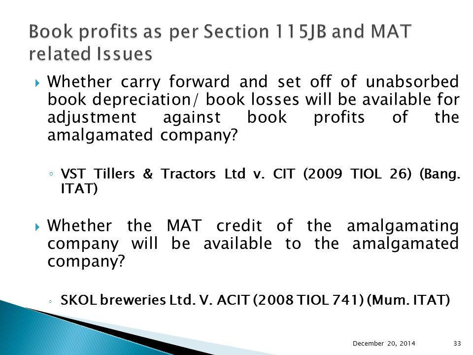 Book profits as per Section 115JB and MAT related Issues