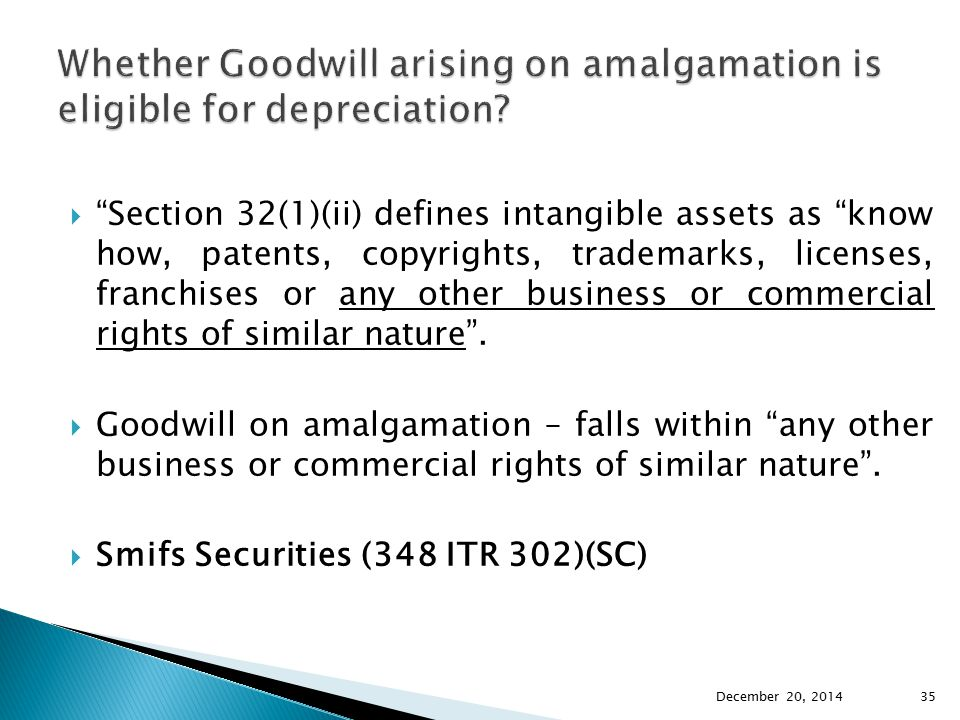 Whether Goodwill arising on amalgamation is eligible for depreciation