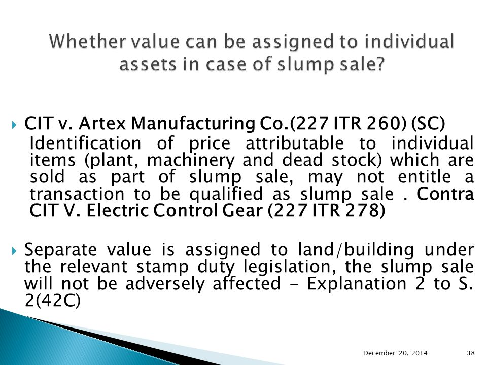 Whether value can be assigned to individual assets in case of slump sale