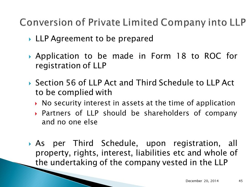 Conversion of Private Limited Company into LLP