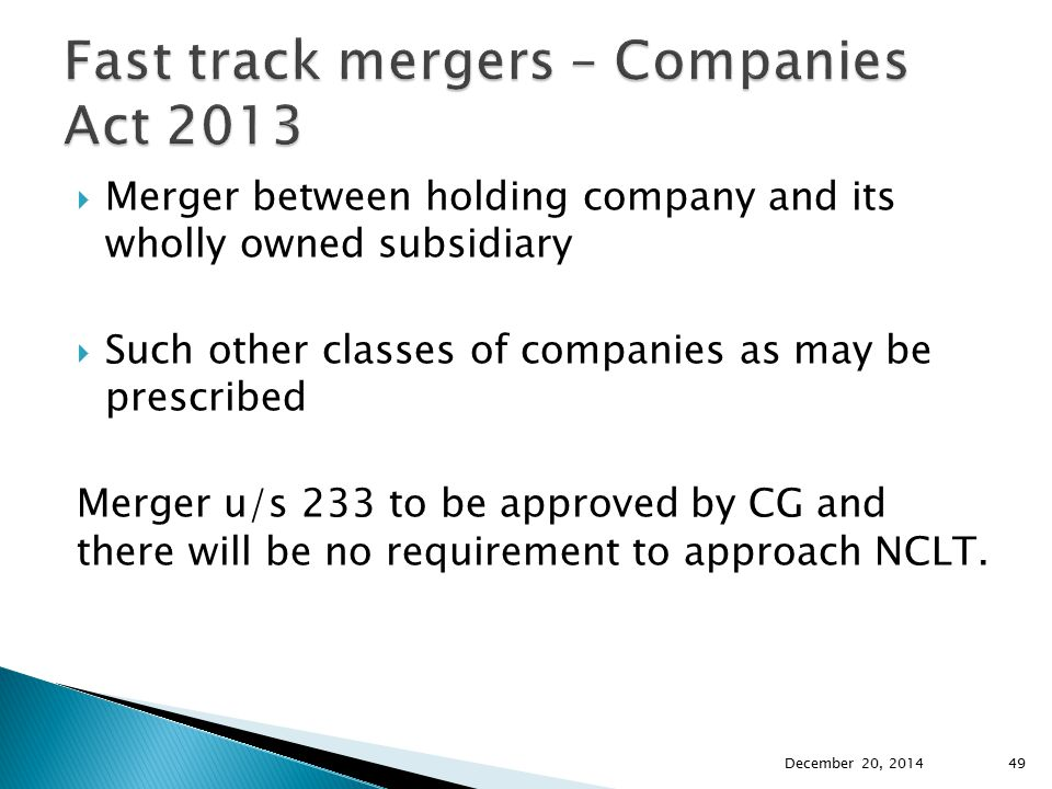 Fast track mergers – Companies Act 2013