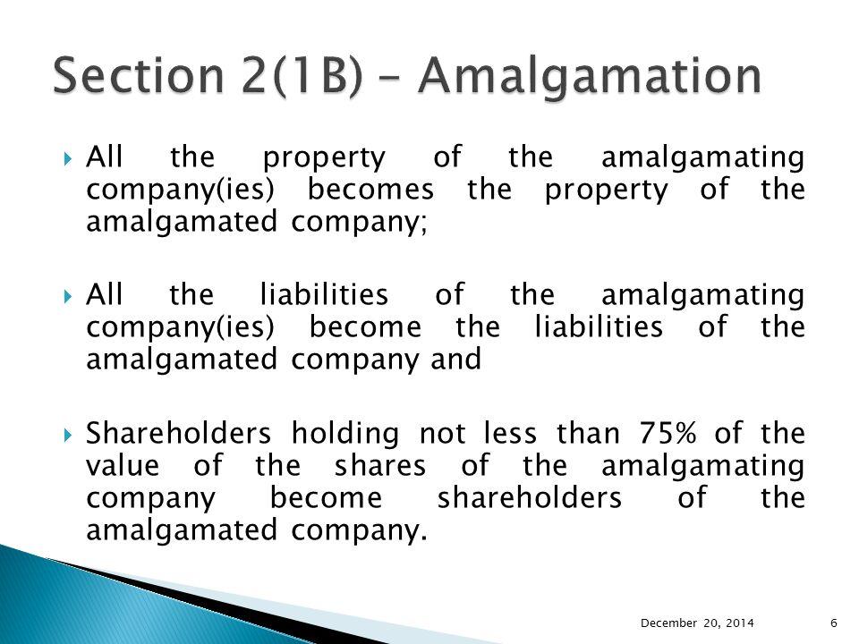Section 2(1B) – Amalgamation