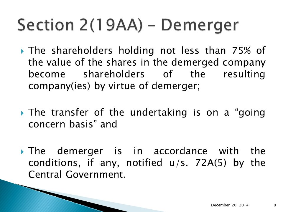 Section 2(19AA) – Demerger