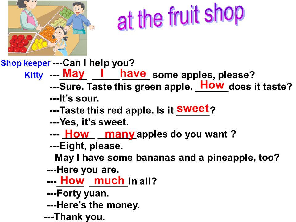 at the fruit shop May I have How sweet How many How much