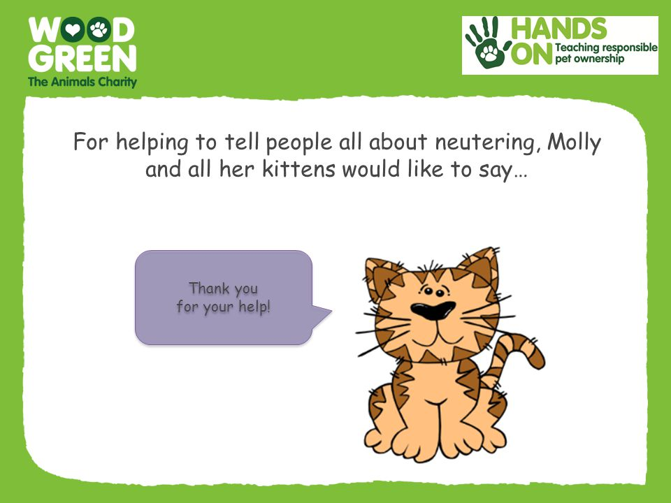 For helping to tell people all about neutering, Molly and all her kittens would like to say…