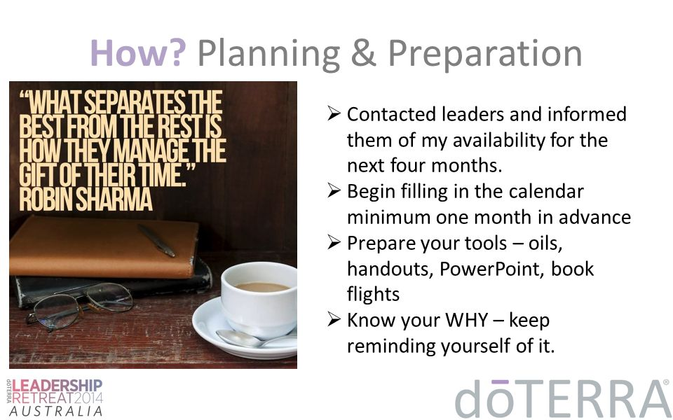 How Planning & Preparation