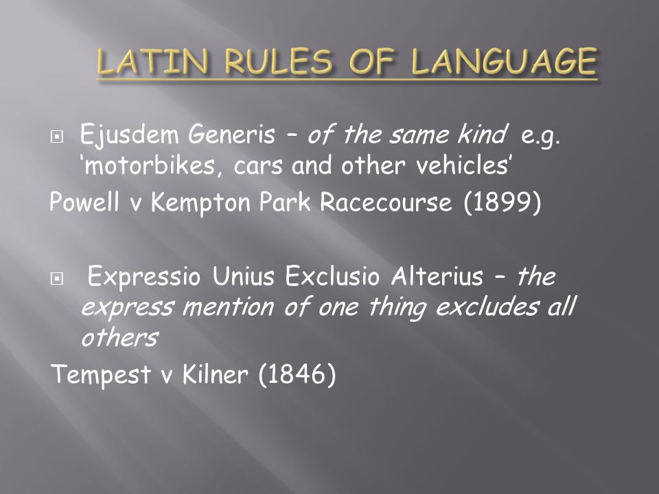 LATIN RULES OF LANGUAGE