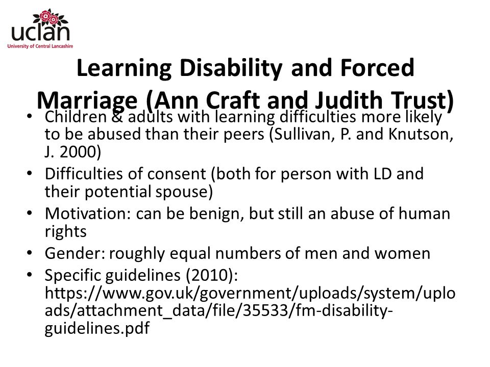 Learning Disability and Forced Marriage (Ann Craft and Judith Trust)