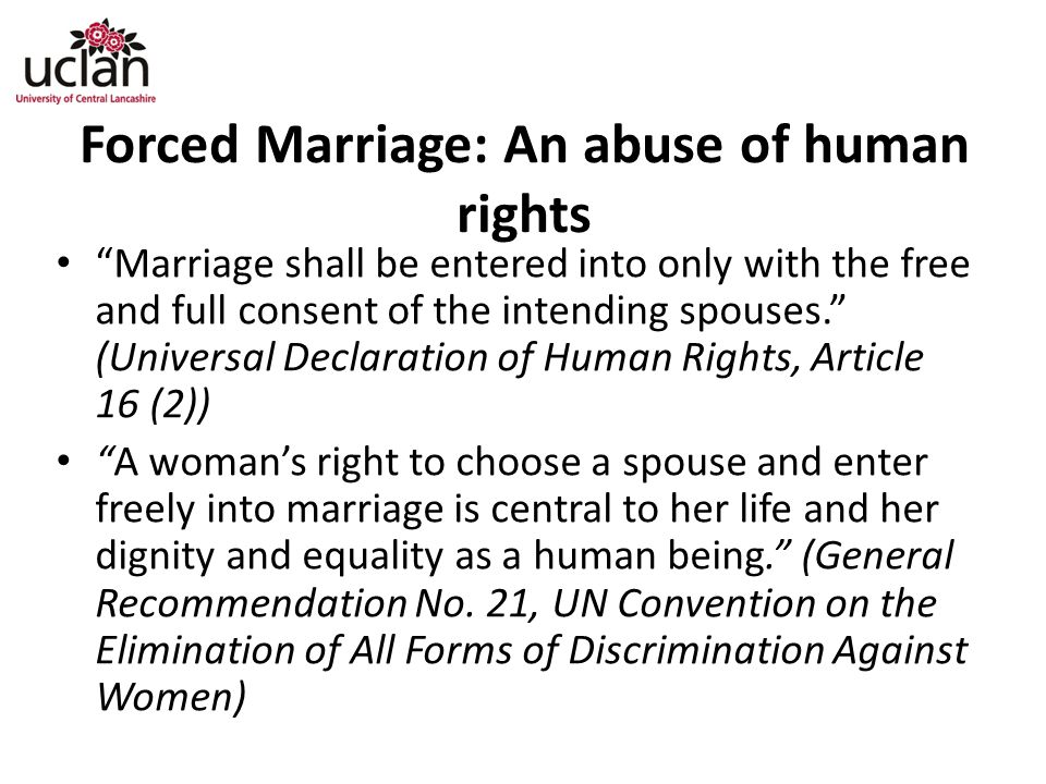 Forced Marriage: An abuse of human rights