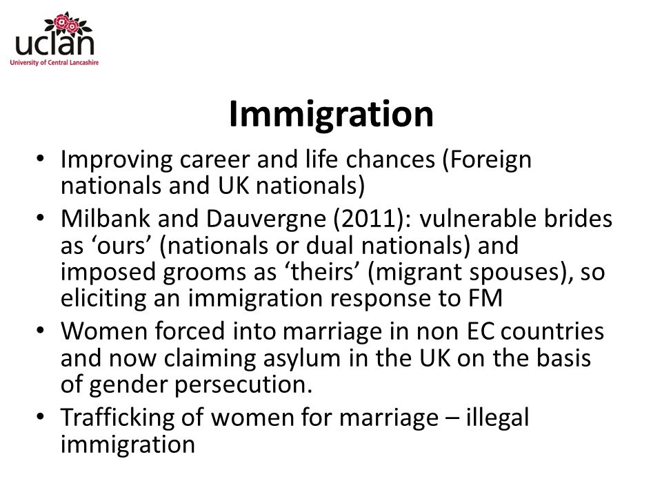 Immigration Improving career and life chances (Foreign nationals and UK nationals)