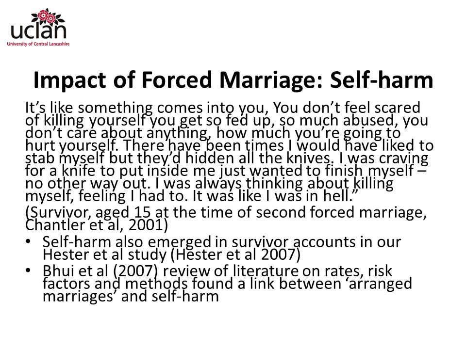 Impact of Forced Marriage: Self-harm