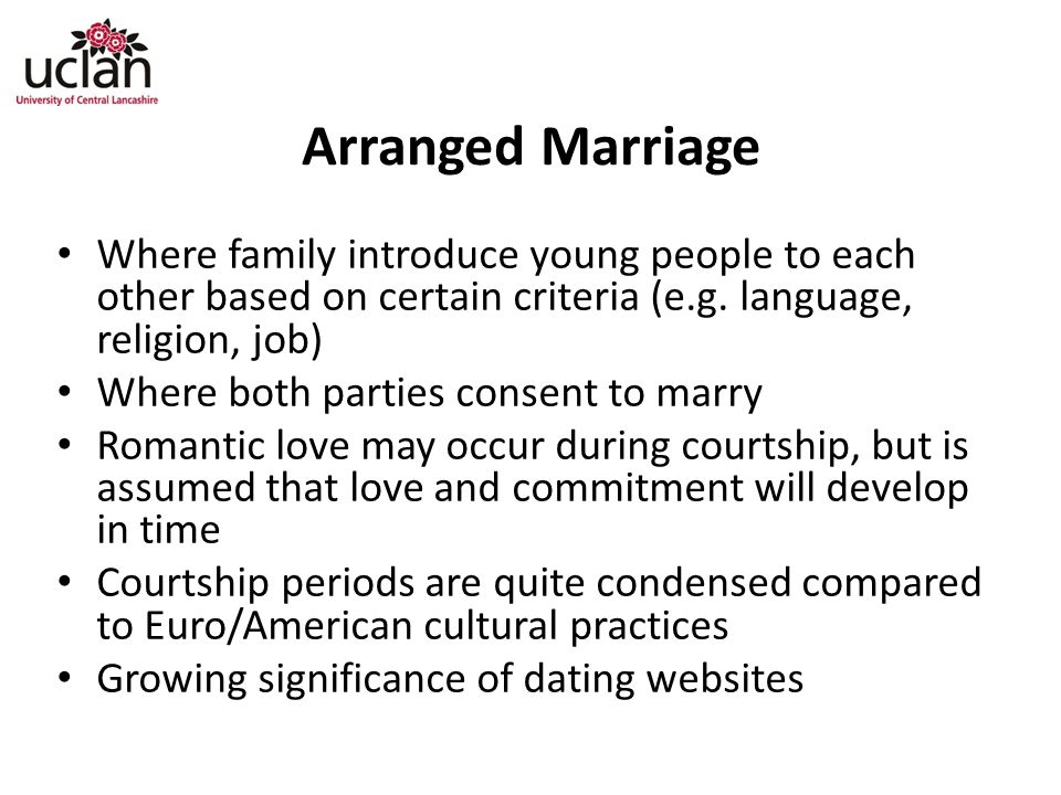 Arranged Marriage Where family introduce young people to each other based on certain criteria (e.g. language, religion, job)