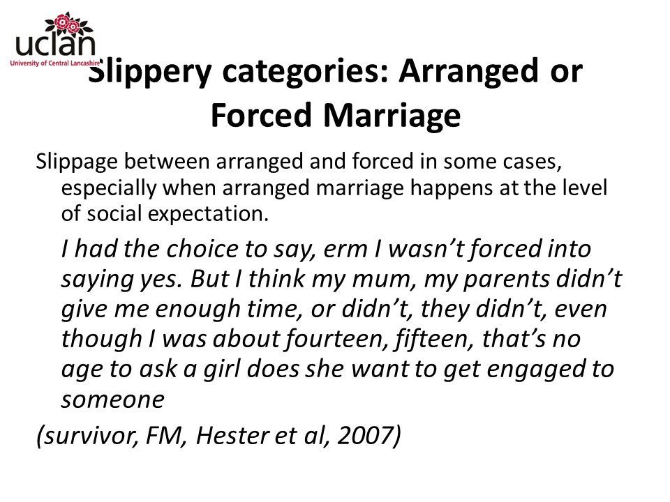 Slippery categories: Arranged or Forced Marriage