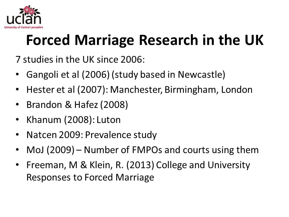 Forced Marriage Research in the UK