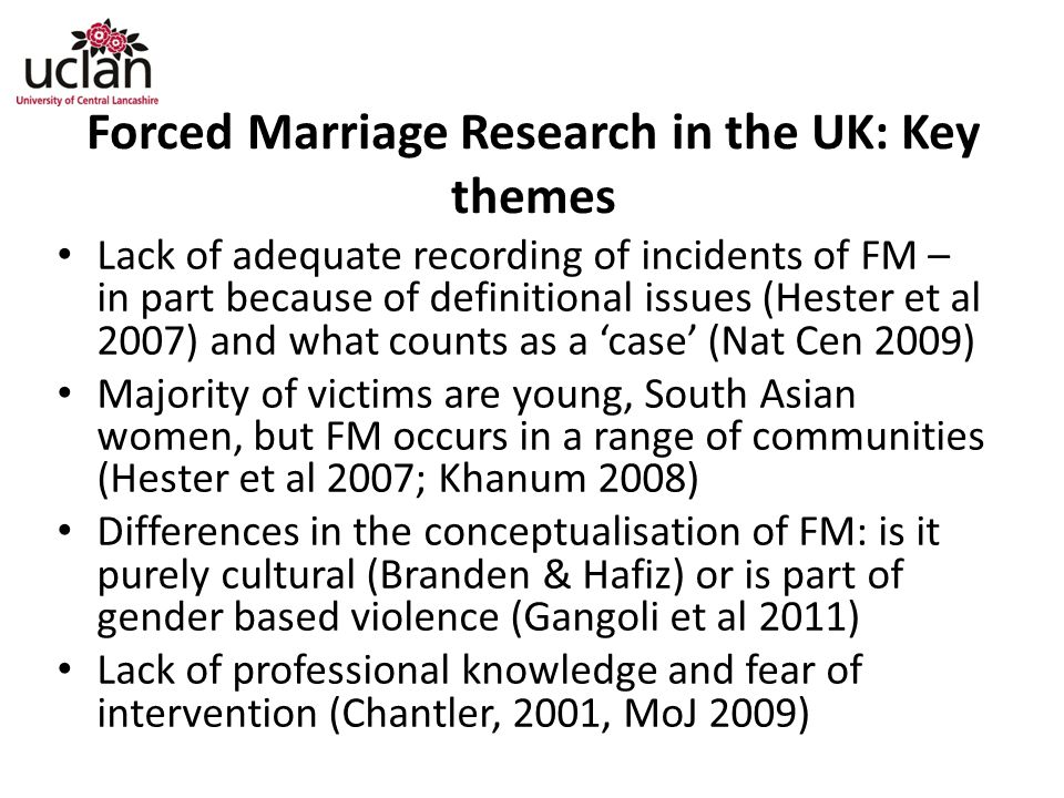 Forced Marriage Research in the UK: Key themes
